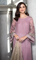 Shirt  Embroidered Front Chiffon 1.4 m Embroidered Chiffon Sleeves 26 inches Back Chiffon 1.4 m Embroidered Sleeves Patti 1 m Resham Lawn Inner Shirt 1.75 m Trouser  Cotton Jacquard Trouser 2.5 m Duppata  Embroidered Chiffon Duppata 2.5 m