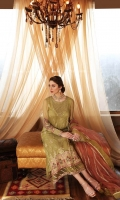 Shirt Embroidered Front Chiffon 1 m Back + Sleeves Chiffon 2 m Embroidered Sleeves Motif 2 pcs 2 Embroidered Damaan Patti 1 m each Embroidered Front + Back + Sleeves Patti 3 m Embroidered Sleeves + Front + Back Patti 3 m Embroidered Front Gala + Sleeves Patti 1 pcs Resham Lawn Inner Shirt 1.75 m Trouser Raw Silk Trouser 2.5 m Duppata Embroidered Duppata Net 2.5 m Finishing Patti 1 pcs