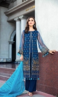 Shirt  Embroidered Front Chiffon 1 m Embroidered Back Chiffon 1.4 m Embroidered Chiffon Sleeves 26 inches Resham Lawn Inner Shirt 1.75 m Trouser Raw Silk Trouser 2.5 m Duppata Embroidered Chiffon Duppata 2.5