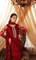 Shirt  Embroidered Front + Back Net 2.5 m Embroidered Sleeves Net 1 pcs Adda Work Front Neck 1 pcs Trouser  Raw Silk Trouser 2.5 m Duppata Embroidered Duppata Net 2.5 m Resham Lawn Inner Shirt 1.75 m