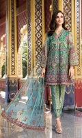 Shirt Embroidered Organza Front 1 m + Embroidered Back 1.25 m Embroidered Sleeves 0.50 m + Embroidered Sleeves Patti 1 m Embroidered Back Daman Patti 1 m + Embroidered Front Neck Patti 1 m Inner Shirt 2.50 m Trouser Cotton Tilla Jacquard Trouser 2.50 m Duppata Embroidered Net Duppata 2.50 m