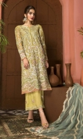 Shirt Embroidered adda work front chiffon 1M Embroidered Chiffon Back 1M Embroidered sleeves Chiffon 26 inches Embroidered adda work Sleeves patti 1M Inner Shirt 2.25M  Trouser Embroidered Raw Silk Trouser 2.5 M  Dupatta Embroidered Net Dupatta 2.5M Embroidered Dupatta Patti 8M Finishing dupatta motif 4Pcs