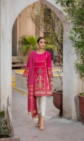 Shirt  Embroidered lawn fabric front & sleeve's Cotton brosha fabric back Dupatta  Cotton tilla zari dupatta with sequence hangings Trouser  Cotton fabric pintex work trouser