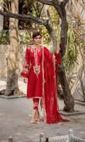 Shirt  Embroidered karandi net fabric front & sleeves. Plain karandi net fabric back. Sequence hangings on cuffs. Separate Inner  Resham lawn separate inner Dupatta  Embroidered chiffon dupatta with sequence hangings. Trouser  Embroidered cotton trouser with pintex work.