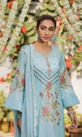 Shirt  Embroidered lawn fabric front & sleeve Plain lawn fabric back Organza fabric frill work on cuffs Sheesha work on front Sequence hangings on sleeves Pearls attached on side chal Dupatta  Embroidered chiffon dupatta with sequence hangings Trouser  Embroidered paste print cotton fabric trouser
