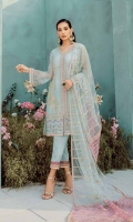 Ready To Wear Organza Fabric Embroidery Shirt With Adda Work Attached Resham Lawn Inner Raw Silk Fabric Trouser Net Fabric Embroidered Dupatta With Adda Work