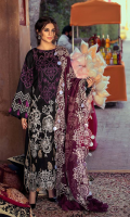 Shirt Embroidered Lawn Front 1.4 m Embroidered Pearl Chiffon Sleeves 26 inches Embroidered Lawn Back 1.4 m Embroidered Front Daman Patti 1 m Embroidered Sleeves + Trouser Patti 2.5 m  Trouser Cotton Trouser 2.5 m  Dupatta Embroidered Dupatta Patti 2 m Embroidered Cotton Net Dupatta 2.5 m