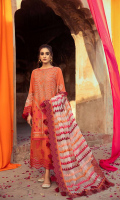 Shirt Embroidered Lawn Front 1.4 m Embroidered Pearl Chiffon Sleeves 26 inches Embroidered Lawn Back 1.4 m Embroidered Front + Back Daman Patti 2 m Embroidered Daman Patti Front 1 m  Trouser Embroidered Cotton Trouser 2.5 m  Dupatta Embroidered Dupatta Patti 8 m Embroidered Motif Dupatta 2 Piece