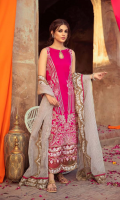 Shirt Embroidered Lawn Front 1.4 m Lawn Sleeves 0.75 m Lawn Back 1.4 m Embroidered Sleeves Patti 1.5 m Embroidered Front + Back + Sleeves Patti 2.5 m Embroidered Sleeves Patti 1.5 m Embroidered Daman Patti Back 1 m  Trouser Cotton Trouser 2.5 m  Dupatta Embroidered Dupatta Patti 5 m Embroidered Dupatta Patti 8 m Organza Jacquard Dupatta 2.5 m