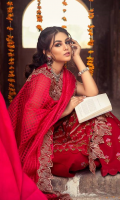 Shirt Embroidered Lawn Front 1.4 m Embroidered Schiffli Sleeves + Neck Front 1.4 m Embroidered Lawn Back 1.4 m Embroidered Front + Back + Sleeves Patti 1 m Embroidered Back Daman Patti 1 m Embroidered Chock Patti 3 m Embroidered Neck Front 1 Piece  Trouser Embroidered Cotton Trouser 2.5 m  Dupatta Embroidered Dupatta Patti 5 m Embroidered Dupatta Patti 2 m Organza Jacquard Dupatta 2.5 m
