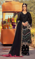 Shirt Embroidered Lawn Front 1.4 m Embroidered Schiffli Sleeves + Front Neck 1.4 m Embroidered Lawn Back 1.4 m Embroidered Front + Back + Sleeves Patti 2.5 m Embroidered Back Daman Patti 1 m Embroidered Chock Patti 3 m Embroidered Neck Front 1 Piece  Trouser Embroidered Cotton Trouser 2.5 m  Dupatta Embroidered Dupatta Patti 5 m Embroidered Dupatta Patti 2 m Organza Jacquard Dupatta 2.5 m