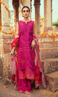 Shirt Embroidered Lawn Front 1.4 m Embroidered Lawn Sleeves 26 inches Embroidered Lawn Back 1.4 m Embroidered Front + Back + Sleeves Patti 2.5 m Embroidered Front + Back Daman Patti 1.5 m Embroidered Schiffli Front Yoke + Sleeves 1 m  Trouser Embroidered Cotton Trouser 2.5 m  Dupatta Embroidered Cotton Net Dupatta 2.5 m Embroidered Dupatta Patti 8 m Finishing Patti 1 Piece