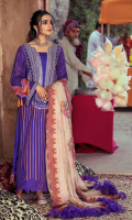 Shirt Embroidered Lawn front 1.4 m Embroidered Neck Front 1 Piece Embroidered Pearl Chiffon Sleeves 26 inches Lawn Back 1.4 m Embroidered Neck Back 1 Piece Embroidered Front Daman Patti 1 m Embroidered Back Daman Patti 1 m Embroidered Chock Patti 2.5 m Embroidered Sleeves + Trouser Patti 2 m  Trouser Cotton Trouser 2.5 m  Dupatta Embroidered Dupatta Patti 8 m Embroidered Cotton Net Dupatta 2.5 m