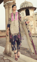 Shirt Embroidered Front Galla Patti 0.75 m Front + Back + Printed Viscose Sleeves 3.25 m Trouser Viscose Trouser 2.5 m Duppata Printed Chiffon Duppata 2.5 m