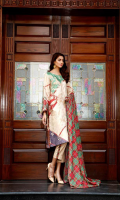Shirt  Printed Embroidered Viscose front 1.25 m Back + Printed Viscose Sleeves 2 m Trouser  Embroidered Viscose Trouser 2.5 m Duppata  Printed Viscose Duppata 2.5 m