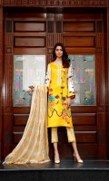 Shirt Front + Back + Printed Viscose Sleeves 3.25 m Embroidered Front Galla Patti 0.75 m Trouser Embroidered Viscose Trouser 2.5 m Duppata Embroidered Chiffon Duppata 2.5 m