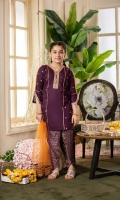 Shirt  Embroidered lawn fabric front & sleeves Plain lawn fabric back Dupatta  Net fabric dupatta with golden lace work Trouser  Cotton tilla jacquard fabric tulip shalwar