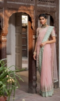 Ready to wear net embroidered and embellished saree Raw silk petticoat Embroidered unstitched raw silk blouse with adda work