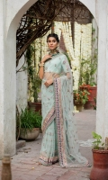 Ready to wear net embroidered and embellished saree Raw silk petticoat Raw silk unstitched blouse with adda work