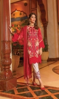 Ready To Wear Lawn Fabric Embroidered Shirt With Adda Work Cotton Fabric Embroidered Trouser Ready To Wear Chiffon Embroidered Dupatta