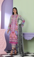 Shirt  Printed Front Back and printed lawn sleeve 3.25 Mtr Trouser  Embroidered Trouser  Patti  1.50 Mtr Cotton Trouser 2.50 Mtr Dupatta  Embroidered printed chiffon dupatta 2.50 yards
