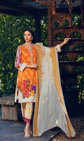 Shirt  Printed Front Back and printed lawn sleeve 3.25 Mtr Embroidered Neckline patti  0.75 Mtr Trouser  Cotton Print Trouser 2.50 Mtr Dupatta  Chiffon Embroidered dupatta 2.50 yards