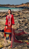 Shirt  Printed and embroidered front Lawn 1.25 Mtr sleeves and back printed lawn 02 Mtr Trouser  Cotton Trouser 2.50 Mtr Dupatta Embroidered Chiffon Print Dupatta 2.50 yards