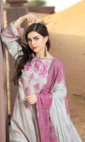 Shirt  Printed and Embroidered Front Lawn 1.25 Mtr sleeves and back printed lawn 02 Mtr Trouser   Cotton Print Trouser 2.50 Mtr Dupatta  Embroidered Chiffon Print Dupatta 2.50 yards