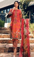 Shirt  Embroidered front digital lawn print 125 Mtr Back with sleeve's digital lawn print 2 Mtr   Trouser  Cotton trouser 250 Mtr Dupatta  Embroidered digital print chiffon dupatta 250 Mtr