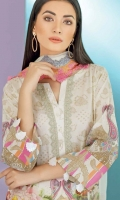 Shirt  Digital printed lawn shirt 325 Mtr Embroidered front neckline 075 Mtr Trouser  Embroidered cotton trouser 250 Mtr Dupatta  Embroidered and printed chiffon dupatta 250 Mtr