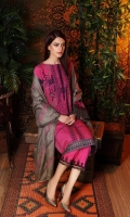 Shirt  Marina Printed Front + Back + Sleeves 3.4 m Embroidered Sleeves + Trouser Patti 2.5 m Trouser  Marina Trouser 2.5 m Shawl Embroidered Pashmina Shawl 2.5 m