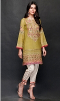 SHIRT  Ready To Wear Embroidered Cotton Net Shirt  Inner Resham Lawn With Adda Work At Front Neck  TROUSER  Cotton Tilla Jacquard Straight Trouser With Embroidered Patti Attached On Bottom