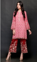 SHIRT  Ready To Wear Embroidered Cotton Net Shirt  Inner Resham Lawn With Adda Work At Front Neck  TROUSER  Raw Silk Embroidered Straight Trouser.