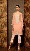 Ready To Wear Chiffon Fabric Heavy Embroidery + Adda Work Shirt With Resham Lawn Inner And Raw Silk Staight Trouser