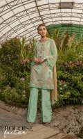Ready To Wear Chiffon Fabric Embroidered Shirt With Adda Work Attached Resham Lawn Inner Raw Silk Fabric Trouser Chiffon Fabric Embroidered Dupatta