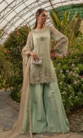 Ready To Wear Chiffon Fabric Embroidered Shirt With Adda Work Attached Resham Lawn Inner Raw Silk Fabric Trouser Net Fabric Embroidered Dupatta