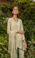 Ready To Wear Organza Fabric Embroidered Shirt With Adda Work Attached Resham Lawn Inner Raw Silk Fabric Trouser Net Fabric Embroidered Dupatta