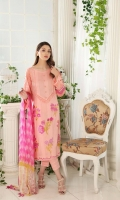 Shirt Embroidered Lawn Brosha Front 1.4 m Embroidered Sleeves Patti 1 m Printed Lawn Back + Sleeves 2 m  Trouser Cotton Trouser 2.5 m  Dupatta Printed Chiffon Dupatta 2.5 m