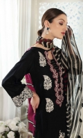 Shirt Embroidered Lawn Brosha Front 1.4 m Lawn Brosha Sleeves 0.75 m Embroidered Sleeves + Daman Patti 2 m Lawn Printed Back 1.4 m  Trouser Cotton Trouser