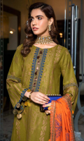 Shirt  Leather Jacquard Front + Back + Sleeves 3.4 m Embroidered Front Neck Patti 0.75 m Embroidered Sleeves Patti 2.5 m Embroidered Daman Patti 1.5 m Trouser  Leather Trouser 2.5 m Shawl  Embroidered Pashmina Shawl 2.5 m