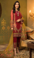 Shirt Embroidered Front Chiffon 1 m Embroidered Back 1.25 m Embroidered Sleeves 26 Inches Inner Shirt 1.5 m Trouser Raw Silk Trouser 2.5 m Embroidered Trouser Patti 1 m Duppata Embroidered Organza Duppata 2.5 m