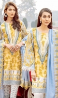 Shirt  Embroidery schiffle front 1 Mtr  Embroidery galla 1 Pcs Back 1 Mtr Embroidery front + back daman Patti 1.50 Mtr Embroidery sleeve's pearl chiffon 26 Inch Embroidery sleeve's Patti 1 Mtr Embroidery chock Patti 4 Mtr Trouser  Cotton trouser 2.50 Mtr  Embroidery trouser Patti 1 Mtr Dupatta  Embroidery dupatta 2.50 Mtr