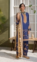 Shirt Embroidered Lawn Karandi Front 1.4 m Embroidered Lawn Karandi Sleeves 26 inches Lawn Karandi Back 1.4 m Embroidered Choke Patti 2.5 m Trouser Embroidered Karandi Trouser 2.5 m Dupatta 2 Embroidered Dupatta Patti 8 m each Chiffon Tilla Jacquard Dupatta 2.5 m