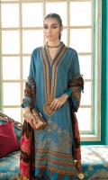 Shirt Embroidered Front Neck 1 piece Embroidered Front Massori 1.4 m Massori Back + Sleeves 2 m 2 Embroidered Front Daman Patti 4 m  Embroidered Sleeves Patti 1.5 m Embroidered Trouser Patti 1.5 m   Trouser Trouser 2.5 m   Shawl Embroidered Shawl Patti 4 m Embroidered Shawl Patti 5 m Velvet Shawl 2.5 m