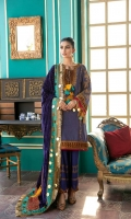 Shirt Embroidered Front Neck 1 Piece Embroidered Back Neck 1 Piece Embroidered Massori Sleeves 26 inches Massori Front + Back 2.5 m  Embroidered Front + Back + Sleeves Patti 4 m Embroidered Sleeves Patti 1.4 m Embroidered Front Panel Patti 2.5 m   Trouser Embroidered Trouser 2.5 m   Shawl Embroidered Velvet Shawl 2.5 m