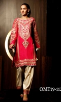 Ready To Wear Raw Silk  Fabric Embroidered Shirt With Golden Lace On Daamen Sleeves & Rashem Lawn Inner And Cotton Tilla  Jequrad Shallwar Embroidered Stripe Pattion Bottom And Golden Lace Finished