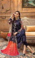 Shirt Embroidered front chiffon 1M Print Chiffon back +sleeves 2M Embroidered Front Daman Patti 1M Inner Shirt 2.25M  Trouser Raw Silk Trouser 2.5 M  Dupatta Printed Chiffon Dupatta 2.5 M Dupatta patti 8M