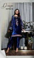 READY TO WEAR PLAIN VELVET FABRIC EMBROIDERED SHIRT WITH CHON LACE ON BOTH SLEEVE'S & FRONT DAAMAN WITH RAW SILK EMBROIDERY PATTI ATTACHED ON FRONT DAAMAN WITH VELVET EMBROIDERED LOOP BUTTON ON SIDE SLIT STAIGHT TROUSER