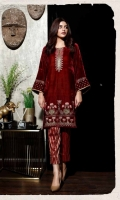 Ready To Wear Plain Velvet Fabric Embroidered Shirt With Indain Lace On Both Sleeve's And Chon Lace On Center Neck Slit And Cotton Tilla Jequared Side SlitStaight Trouser