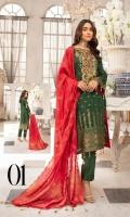 Embroidered Banarsi Lawn Shirt Fancy Banarsi Jacquard Dupatta Dyed Cambric Trouser